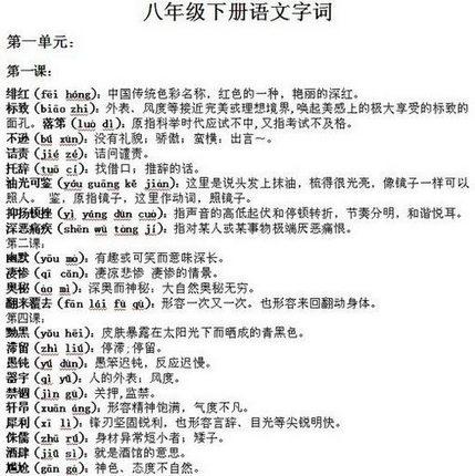 初二(八永利国际娱乐网站)下册语文字词
