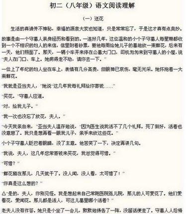 初二(八永利国际娱乐网站)语文阅读理解